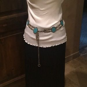 Accessories - Turquoise and Silver Concho  Belt.